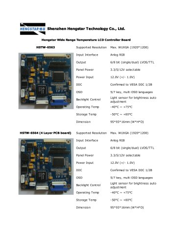 Hengstar Wide Range Temperature LCD Controller Board