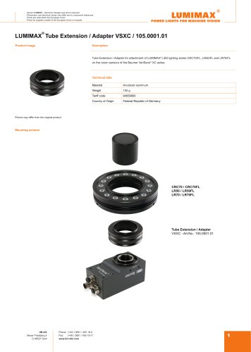 LUMIMAX Tube Extension Adapter for Baumer VeriSens XC-Serie