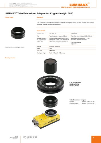 LUMIMAX Tube Extension Adapter for Cognex IS5x