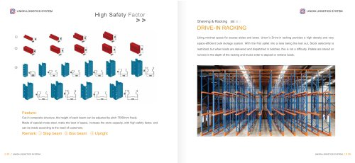 Union high quality heavy duty steel drive in racking for sale