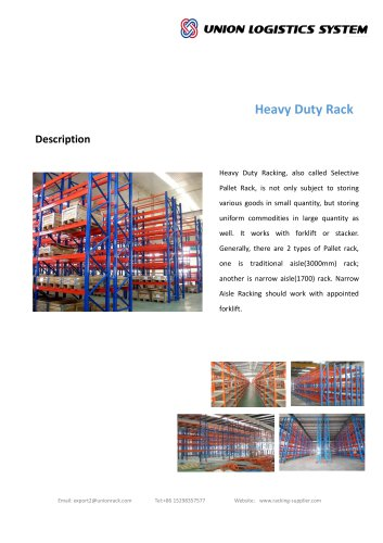 Union Industrial Warehouse Steel Q235 Heavy Duty Storage Pallet Rack Manufacture