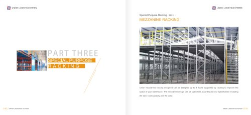 Union steel mezzanine racking floor system