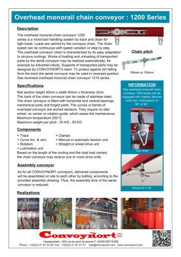 Overhead monorail chain conveyor: 1200 Series
