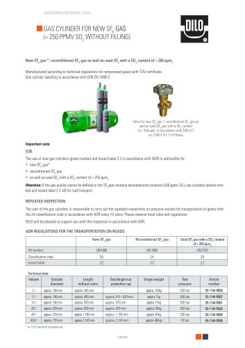 Gas cylinder for SF6 gas