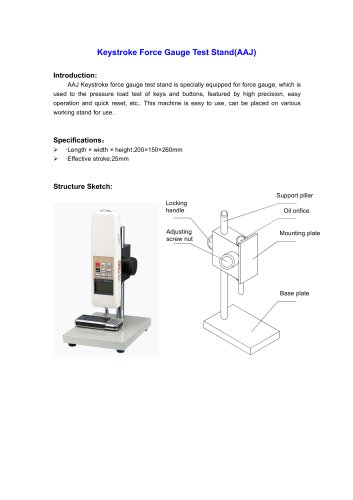 AAJ Keystroke Force Gauge Test Stand for pressure load test of keys and buttons  | Wenzhou Tripod instrument