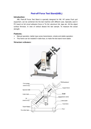 ABL Peel-off Force Test Stand is used in PC board on foil circuit adhesion force or Tin foil, aluminum foil, tape etc | Wenzhou Tripod instrument