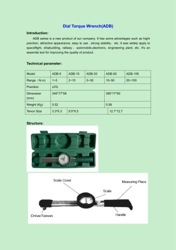 ADB Dial Torque Wrench for improving the quality of product | Wenzhou Tripod instrument