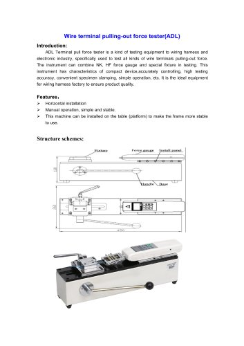 ADL Wire terminal pulling-out force tester for testing equipment to wiring harness and electronic industry | Wenzhou Tripod instrument