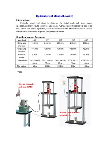 ALE/ALR Hydraulic test stand for different purposes compressive load test | Wenzhou Tripod instrument