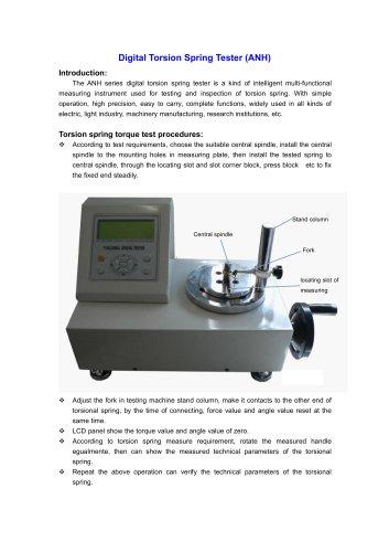 ANH Digital Torsion Spring Tester is used for testing and inspection of torsion spring | Wenzhou Tripod instrument