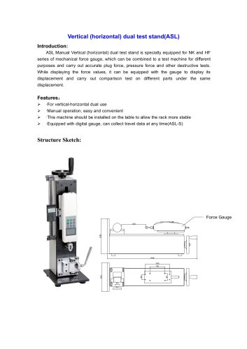 ASL Vertical (horizontal) dual test stand for different purposes and carry out accurate plug force, pressure force and other destructive tests | Wenzhou Tripod instrument