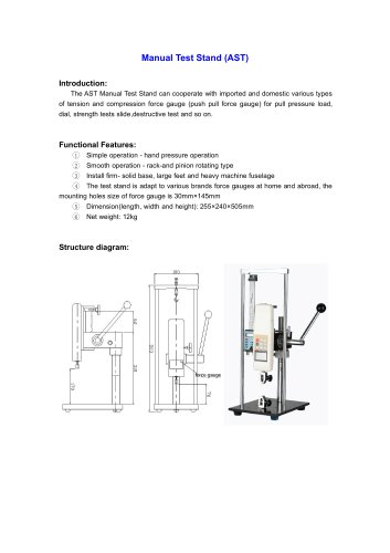 AST Manual Test Stand for pull pressure load, dial, strength tests slide,destructive test | Wenzhou Tripod instrument