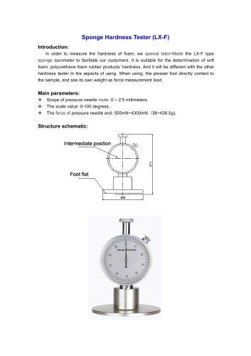LX-F Sponge Hardness Tester for the determination of soft foam, polyurethane foam rubber products? hardness | Wenzhou Tripod instrument