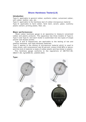 LX Shore Hardness Tester | Wenzhou Tripod instrument