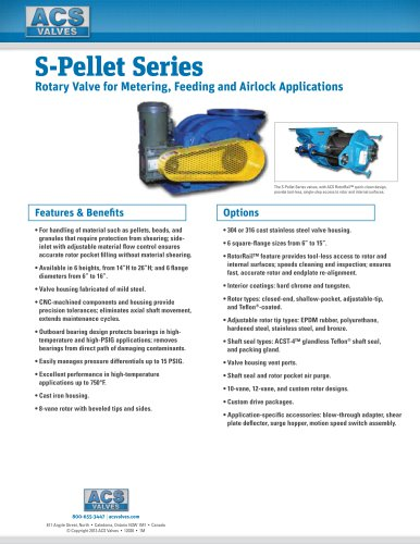 S-Pellet Series: Rotary Valve for Metering, Feeding and Airlock Applications