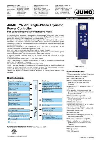 JUMO TYA 201 Single phase thyristor power controller