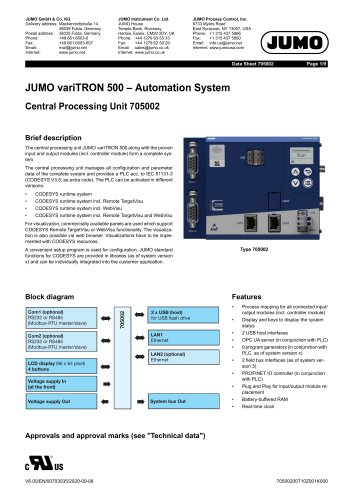 JUMO variTRON 500 - Central processing unit for an automation system