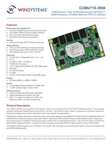 COMeT10-3900 COM Express Type 10 Mini Module