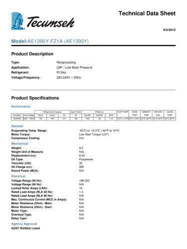 Technical Data Sheet Model:AE1390Y-FZ1A (AE1390Y)