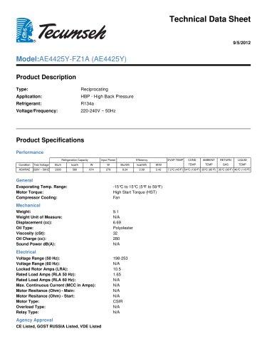 Technical Data Sheet Model:AE4425Y-FZ1A (AE4425Y)