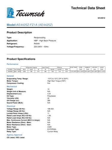 Technical Data Sheet Model:AE4425Z-FZ1A (AE4425Z)