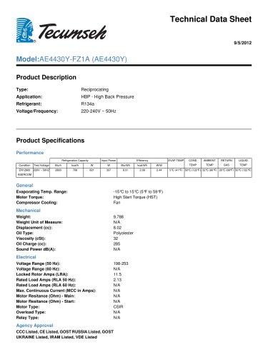 Technical Data Sheet  Model: AE4430Y-FZ1A (AE4430Y)