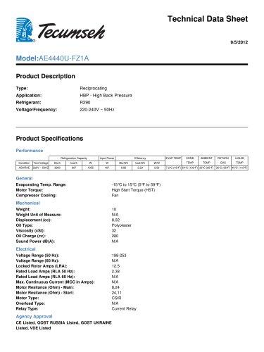 technical data sheet Model: AE4440U-FZ1A