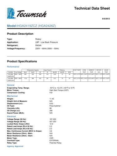 technical data sheet model : HGA2419ZCZ (HGA2426Z)