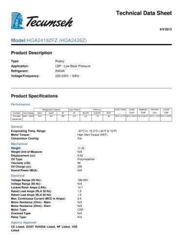 technical data sheet  Model: HGA2419ZFZ (HGA2426Z)