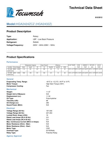 technical data sheet Model: HGA2424ZCZ (HGA2432Z)