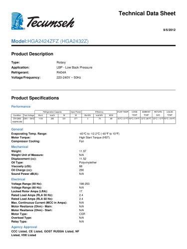 technical data sheet Model: HGA2424ZFZ (HGA2432Z)