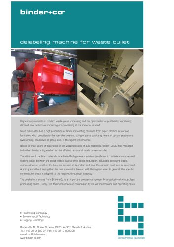 Binder-Co Delabeling machine