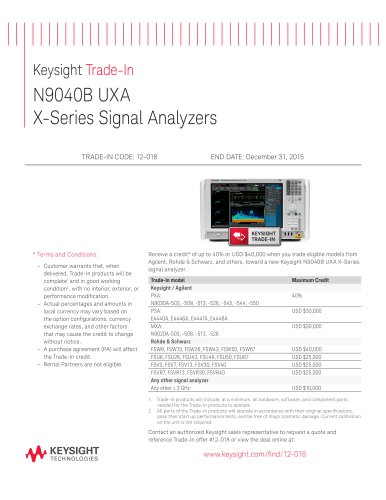 Keysight Trade-In N9040B UXA  X-Series Signal Analyzers