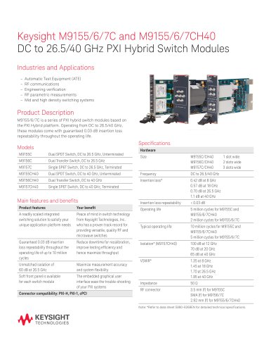 M9155/6/7C and M9155/6/7CH40 DC to 26.5/40 GHz PXI Hybrid Switch Modules