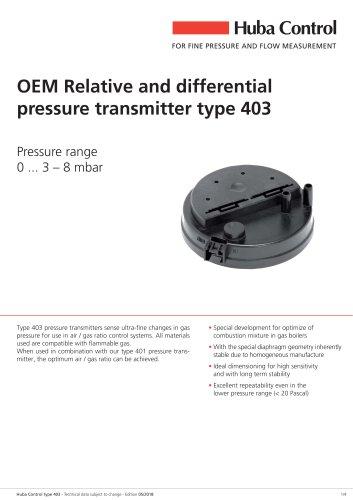Differential pressure transmitter 403 0 ... 3 – 8 mbar