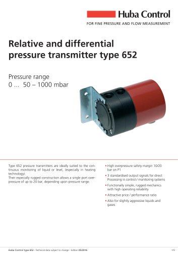 Differential pressure transmitter 652 0 ... 50 - 1000 mbar
