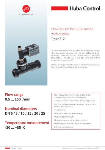 Flow sensor 212 with display 0.5 ... 150 l/min