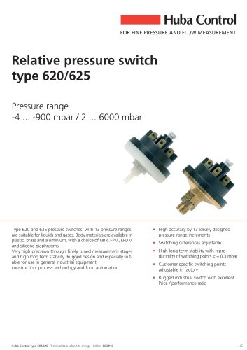 Mechanical Pressure Switch 625 -900 ... 6000 mbar