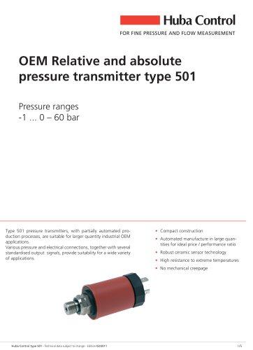 OEM Pressure sensor 501 -1 ... 0 - 60 bar