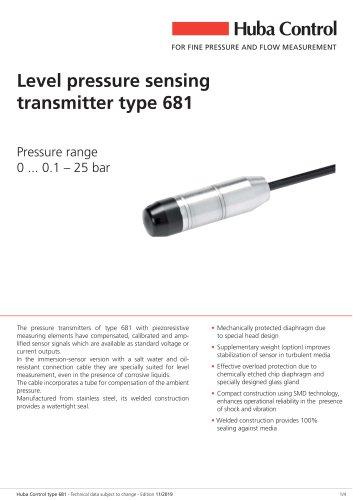 Pressure level transmitter 681 0 ... 0.1 - 25 bar
