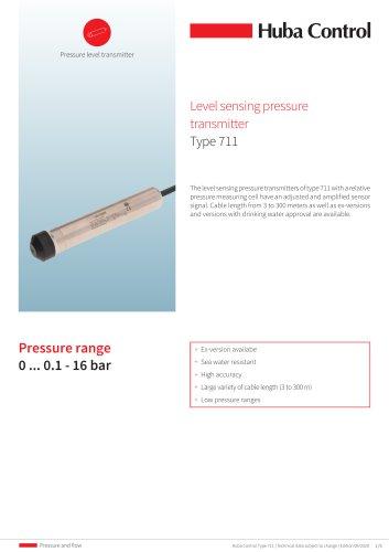 Pressure level transmitter 711 0 ... 0.1 - 16 bar