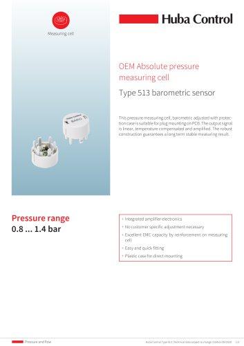 Pressure measuring cell OEM 513 - barometric sensor 0.8 ... 1.4 bar