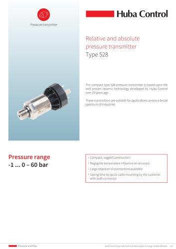 Pressure sensor 528 -1 ... 0 – 60 bar
