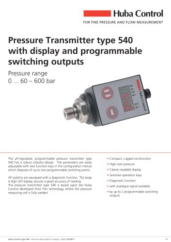Pressure sensor 540 with display 0 ... 60 – 600 bar