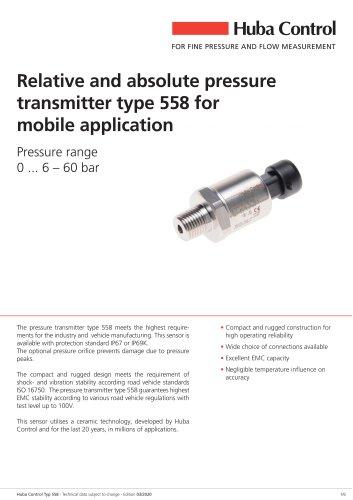 Pressure sensor 558 0 ... 6 – 60 bar
