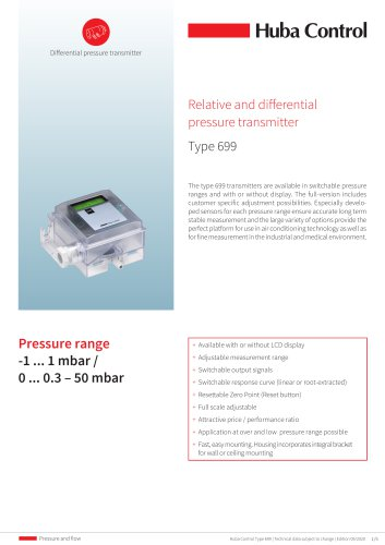 Relative, and differential pressure transmitter type 699