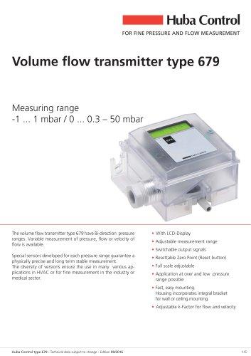 Volume flow transmitter 679 -1 ... 1 mbar / 0 ... 0.3 – 50 mbar