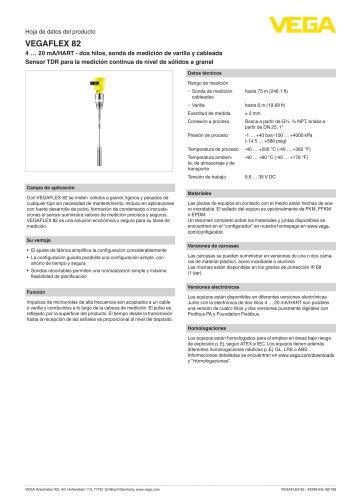 Hoja de datos del producto VEGAFLEX 82
