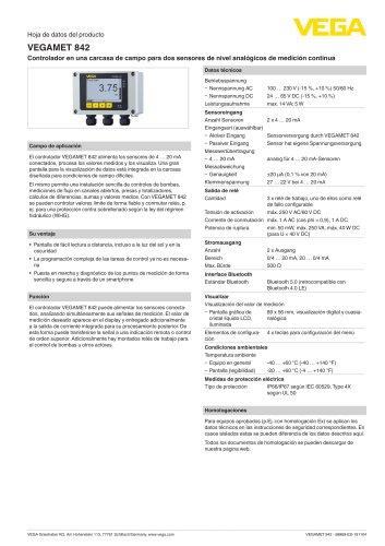 Hoja de datos del producto VEGAMET 842