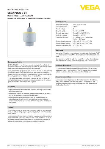 Hoja de datos del producto VEGAPULS C 21